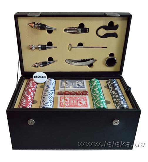 Изображение набор для покера и вина на 2 бутылки