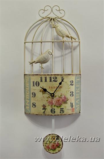 """Изображение настенные часы с маятником """"Птичья клетка"""""""