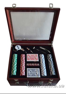 Изображение набор для покера и вина на 3 бутылки