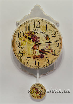 """Изображение настенные часы с маятником """"Home"""""""
