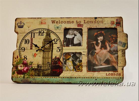 """Изображение настольные часы с рамкой под фото """"Welcome to London"""""""