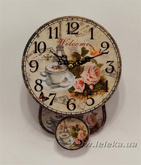 """Изображение настенные часы с маятником """"Welcome"""""""